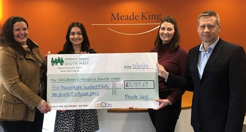 Katie, Heidi and Simon presenting our cheque to Amanda from Children's Hospice South West