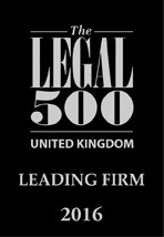Leading Firm listed in The Legal 500 2016